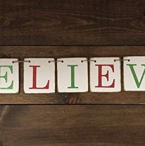 Christmas Banner Believe Glitter Red And Green Farmhouse Style Letters Christmas Card Photo Banner Garland Sign Bunting 0 0 300x301