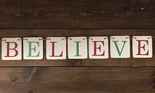 Christmas Banner Believe Glitter Red And Green Farmhouse Style Letters Christmas Card Photo Banner Garland Sign Bunting 0 0