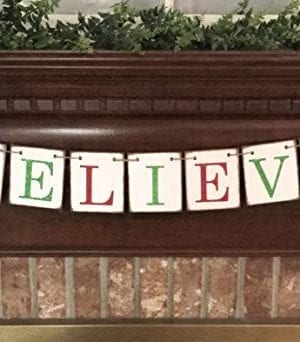 Christmas Banner Believe Glitter Red And Green Farmhouse Style Letters Christmas Card Photo Banner Garland Sign Bunting 0 1 300x342
