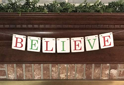 Christmas Banner Believe Glitter Red And Green Farmhouse Style Letters Christmas Card Photo Banner Garland Sign Bunting 0 1