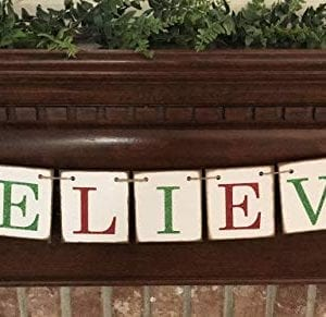 Christmas Banner Believe Glitter Red And Green Farmhouse Style Letters Christmas Card Photo Banner Garland Sign Bunting 0 2 300x291