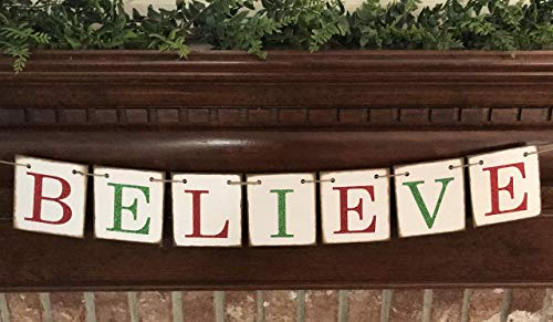 Christmas Banner Believe Glitter Red And Green Farmhouse Style Letters Christmas Card Photo Banner Garland Sign Bunting 0 2