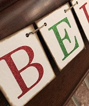 Christmas Banner Believe Glitter Red And Green Farmhouse Style Letters Christmas Card Photo Banner Garland Sign Bunting 0 3 300x360