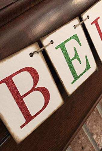 Christmas Banner Believe Glitter Red And Green Farmhouse Style Letters Christmas Card Photo Banner Garland Sign Bunting 0 3