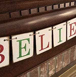 Christmas Banner Believe Glitter Red And Green Farmhouse Style Letters Christmas Card Photo Banner Garland Sign Bunting 0 300x303