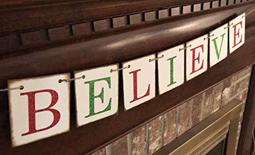 Christmas Banner Believe Glitter Red And Green Farmhouse Style Letters Christmas Card Photo Banner Garland Sign Bunting 0