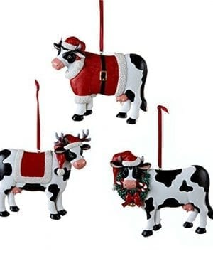 Christmas Cow Ornament 3 Assorted By Country Marketplace 0 300x360