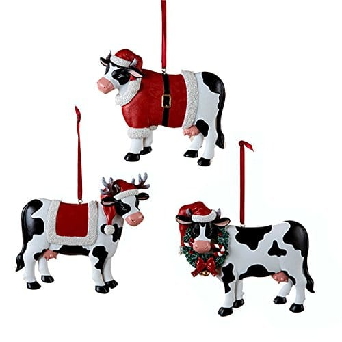 Christmas Cow Ornament 3 Assorted By Country Marketplace 0