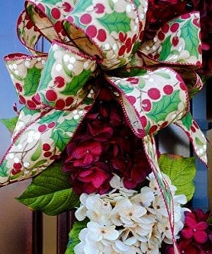Christmas Hydrangea Monogram Wreath With Holly Print Bow And Cream And Ruby Red Hydrangeas On Grapevine Base Farmhouse Style 0 0 300x360