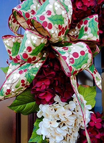 Christmas Hydrangea Monogram Wreath With Holly Print Bow And Cream And Ruby Red Hydrangeas On Grapevine Base Farmhouse Style 0 0