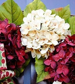 Christmas Hydrangea Monogram Wreath With Holly Print Bow And Cream And Ruby Red Hydrangeas On Grapevine Base Farmhouse Style 0 1 300x335