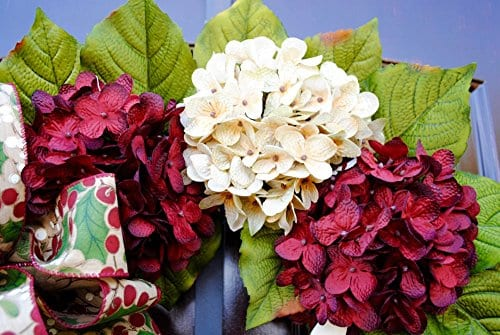 Christmas Hydrangea Monogram Wreath With Holly Print Bow And Cream And Ruby Red Hydrangeas On Grapevine Base Farmhouse Style 0 1