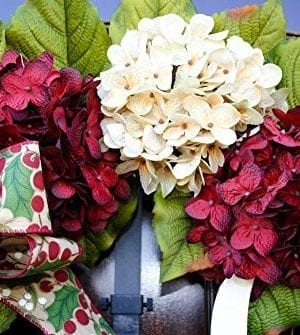 Christmas Hydrangea Monogram Wreath With Holly Print Bow And Cream And Ruby Red Hydrangeas On Grapevine Base Farmhouse Style 0 2 300x335