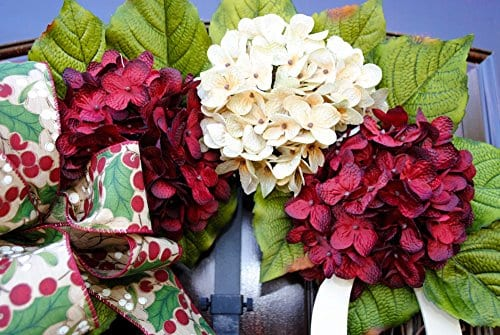 Christmas Hydrangea Monogram Wreath With Holly Print Bow And Cream And Ruby Red Hydrangeas On Grapevine Base Farmhouse Style 0 2