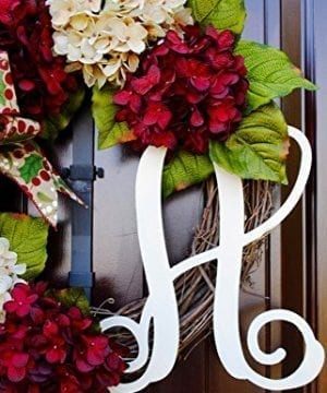 Christmas Hydrangea Monogram Wreath With Holly Print Bow And Cream And Ruby Red Hydrangeas On Grapevine Base Farmhouse Style 0 3 300x360