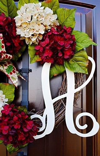 Christmas Hydrangea Monogram Wreath With Holly Print Bow And Cream And Ruby Red Hydrangeas On Grapevine Base Farmhouse Style 0 3