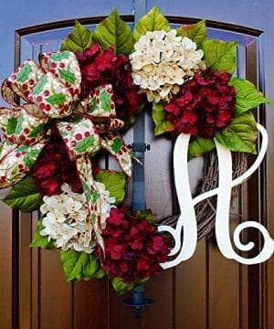 Christmas Hydrangea Monogram Wreath With Holly Print Bow And Cream And Ruby Red Hydrangeas On Grapevine Base Farmhouse Style 0 300x360