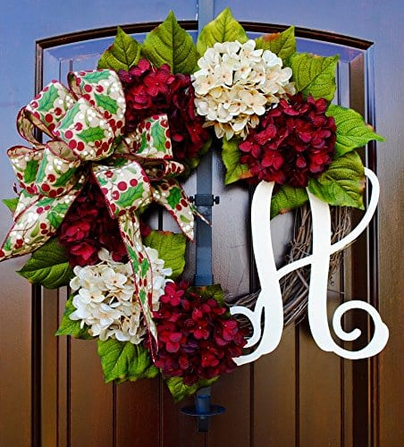 Christmas Hydrangea Monogram Wreath With Holly Print Bow And Cream And Ruby Red Hydrangeas On Grapevine Base Farmhouse Style 0