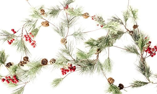 Christmas Smokey Pine And Red Berry Garland 6 Feet Great Indoor And Outdoor Christmas Decor Bring The Warmth Of The Holidays To Your Home This Winter 0 0