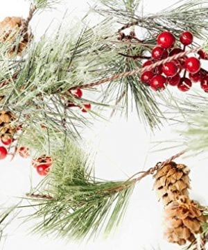 Christmas Smokey Pine And Red Berry Garland 6 Feet Great Indoor And Outdoor Christmas Decor Bring The Warmth Of The Holidays To Your Home This Winter 0 300x360