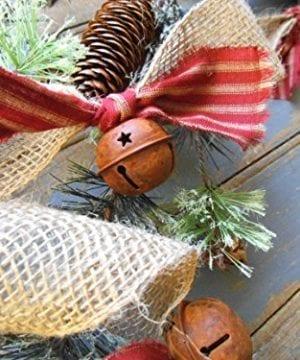 Christmas Tree Garland Rusty Bell And Homespun Ticking Burlap Rustic Tree Garland 0 2 300x360