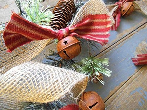 Christmas Tree Garland Rusty Bell And Homespun Ticking Burlap Rustic Tree Garland 0 2