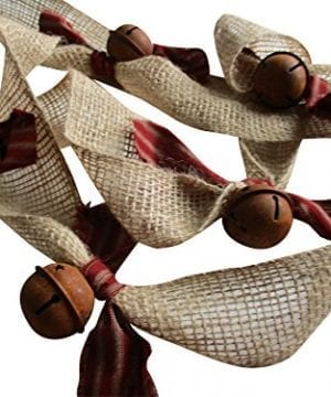 Christmas Tree Garland Rusty Bell And Homespun Ticking Burlap Rustic Tree Garland 0 300x360