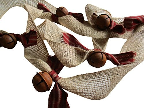 Christmas Tree Garland Rusty Bell And Homespun Ticking Burlap Rustic Tree Garland 0