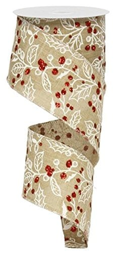 Christmas Tree RibbonGarland With Glitter Berry Branch Design 25 Wide X 10 Yards Rustic Linen Look 0
