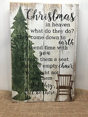 Christmas In Heaven Quote Reclaimed Wood Pallet Sign Home Decor 14x20 0