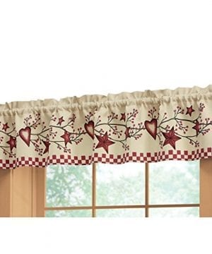 Collections Etc Country Heart Checkered Rod Pocket Window Valance Red 0 300x360