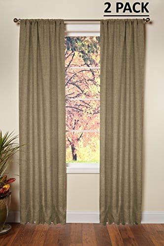 Cotton Craft 100 Jute Burlap Rod Pocket Window Panels Natural Set Of 2 Made From Eco Friendly 100 Natural Jute 0