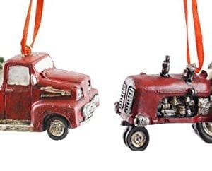 Country Christmas Tractor Truck Hanging Christmas Ornament Set Of 2 0 300x242