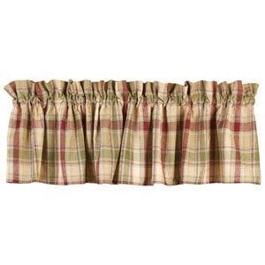 Country House Brandywine Burgundy Sage Green Tan Plaid Valance 72 X 14 0 300x300