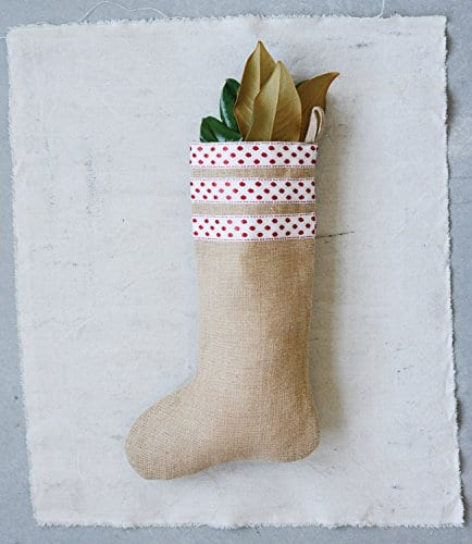 Burlap Christmas Stockings.Creative Co Op Burlap Christmas Stocking With Red Polka Dot Trim
