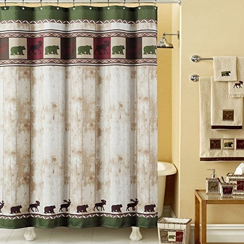 DS BATH Woodland Shower Curtain And Shower Hooks 0