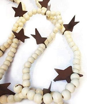 Darice Christmas Garland Ivory Wood Beads W Rustic Star 6 FT 0 300x360