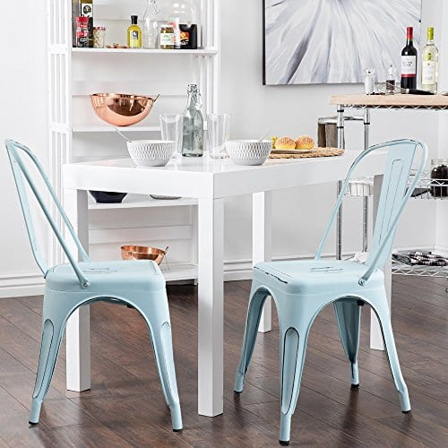 Devoko Metal Indoor Outdoor Chairs Distressed Style Kitchen Dining Chairs Stackable Side Chairs With Back Set Of 4 Blue Farmhouse Goals