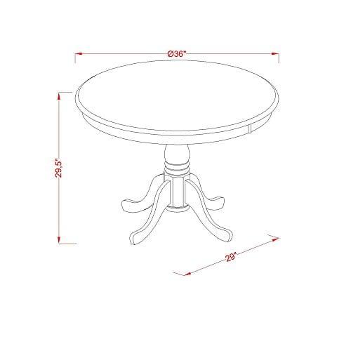 East West Furniture ANPL3 WHI C 3 Piece Kitchen Nook Dining Table Set ButtermilkCherry Finish 0 1
