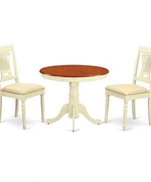 East West Furniture ANPL3 WHI C 3 Piece Kitchen Nook Dining Table Set ButtermilkCherry Finish 0 300x360
