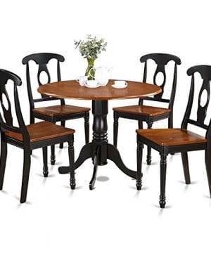 East West Furniture DLKE5 BCH W 5 Piece Kitchen Table Set BlackCherry Finish 0 300x360