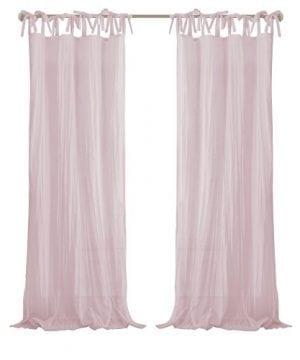 Elrene Home Fashions Crushed Semi Sheer Adjustable Tie Top Single Panel Window Curtain Drape 0 1 300x360