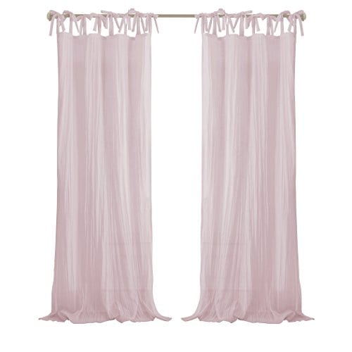 Elrene Home Fashions Crushed Semi Sheer Adjustable Tie Top Single Panel Window Curtain Drape 0 1