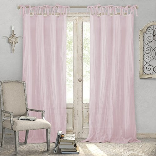 Elrene Home Fashions Crushed Semi Sheer Adjustable Tie Top Single Panel Window Curtain Drape 0