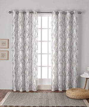 Exclusive Home Branches Linen Blend Window Curtain Panel Pair With Grommet Top 0 300x360