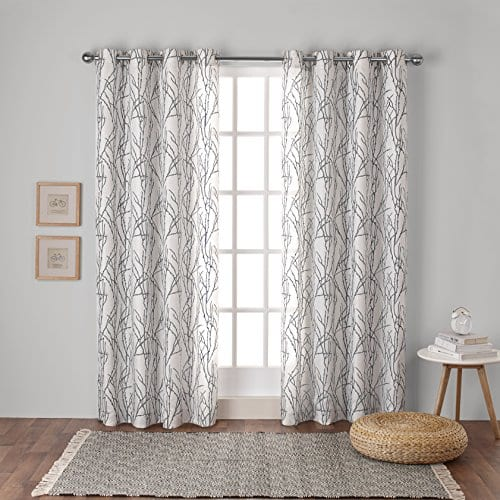 Exclusive Home Branches Linen Blend Window Curtain Panel Pair With Grommet Top 0