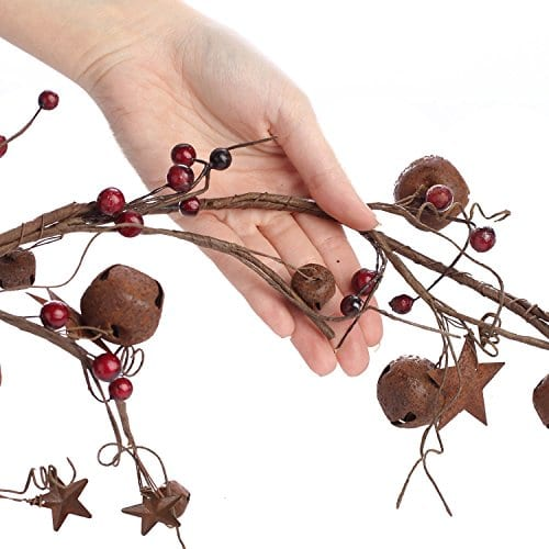 Factory Direct Craft 5 Feet Of Primitive Rustic Tin Star And Bell Garland For Home Decor Holiday 0 1