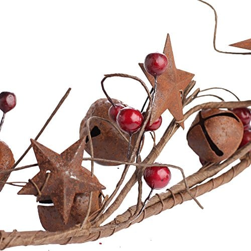 Factory Direct Craft 5 Feet Of Primitive Rustic Tin Star And Bell Garland For Home Decor Holiday 0 2