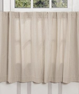 Farmhouse Ticking Taupe Window Curtains 0 300x360