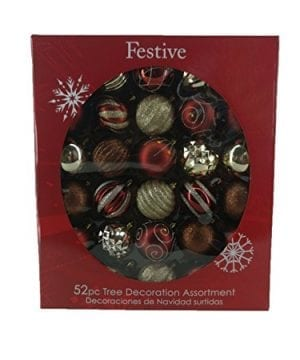 Festive 52 Piece Assorted Bauble Christmas Ornament Set Maroon Gold 0 0 300x360